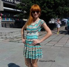 прежда Дива- рокля от Натало4ка Vanessa Montoro, Crochet Clothes, Crochet Dresses, Ideias Fashion, Knit Crochet, Short Sleeve Dresses, Summer Dresses, Knitting, How To Make
