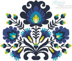 Artecy Cross Stitch. Polish Folk Art Blue Crossing Cross Stitch Pattern to print online.