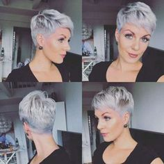 Today we have the most stylish 86 Cute Short Pixie Haircuts. We claim that you have never seen such elegant and eye-catching short hairstyles before. Pixie haircut, of course, offers a lot of options for the hair of the ladies'… Continue Reading → Grey Pixie Hair, Short Grey Hair, Very Short Hair, Short Hair Cuts For Women, Short Hairstyles For Women, Funky Short Hair, Gray Hair, Blonde Hair, Short Pixie Haircuts