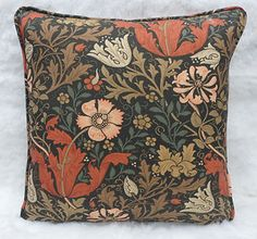 William Morris fabric- Coral, pink, gold and black pillow This is my wallpaper… love to find fabric for cushion/s Harrison House, William Morris Patterns, Cross Stitch Pillow, Black Pillows, Cushion Fabric, I Wallpaper, Coral Pink, Folklore, Textile Design