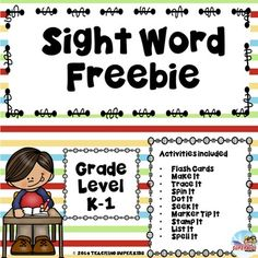 Dolch Primer Sight Word FreebieTry it before you buy it!This Freebie is a sample set of sight word practice sheets that are engaging and can be used in several different ways. Use them for early finishers, during Daily 5, for Homework and more.Included in this FREEBIE is a set of Flash Cards/Pocket Chart Cards, 9 different activities and spelling test pages.The activities covered are:Make ItTrace ItShape ItSpin ItDot ItSeek and Find ItMarker Tip ItStamp ItList ItIf you like this freebie you…