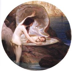 Herbert James Draper Waterbaby oil painting for sale; Select your favorite Herbert James Draper Waterbaby painting on canvas or frame at discount price. Art And Illustration, Art Amour, Baby Painting, Pre Raphaelite, Fine Art, Oeuvre D'art, Art History, Oil On Canvas, Fantasy Art