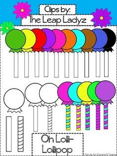 Oh, Lolli-Lollipop!! This set of colorful lollipops will help you in decorating, making activity sheets, and/or games with letters, compound words, word families, etc.22 individual clips total!! They are in a zip file, png format, and can be made larger or smaller without altering the clip art's shape or clarity.10 Colored lollipops: black, brown, green, blue, light blue, pink, orange, purple, red, yellow, white3 Lollipop sticks- striped black and white, plain black and white, and…