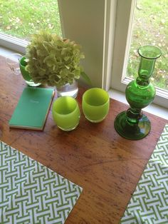 glassybaby in shades of green + Watson Kennedy (two Seattle favorites)