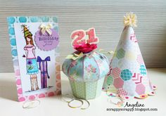 Check out Angeline's fabulous party trio, definitely says it's party time!  These prints rock!  The 3D Cupcake Box is perfect for the birthday gal or guy with a special gift inside and the Party Hat is so simple, it's one piece!  Look at the cool scalloped edge!  You can find these and also a 3 tier Cake Boxes in HAPPY BIRTHDAY TO YOU SVG KIT!  This is a definite must-have kit for your collection!  You will use them over and over again!