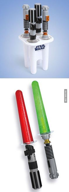 Star Wars Glowing Lightsaber Ice Pop Maker -- need this for summer!
