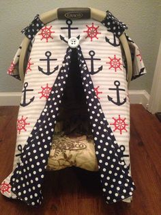 Nautical carseat canopy cover tent shade by LilacsAndLeopards