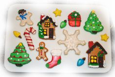 Custom Christmas Cookies - Famous Frosted Shortbread Cookies... SEE MORE & ORDER HERE ---> https://www.facebook.com/media/set/?set=a.106611979816.80769.106597134816&type=1 ... christmas tree - snowman - present - gift box - star - stocking - gingerbread man - gingerbread house - light blub - candy cane - snowflake - cookies... christmas cookies