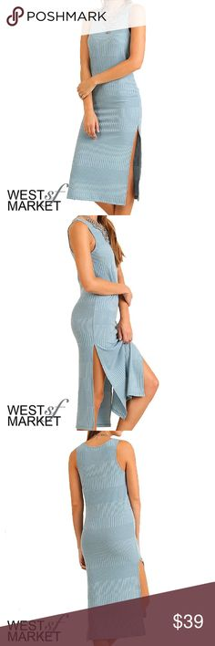 -COMING SOON- The Willow Dress Sleeveless maxi dress in dusty blue. Slits on both sides. West Market SF Dresses Maxi