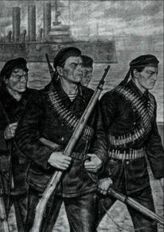 Russian Civil War. Red Sailors. Joseph Stalin, Socialist Realism, Russian Revolution, World War One, Insurgent, Soviet Union, Eastern Europe, Revolutionaries, Sailor