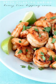 Spicy Cilantro Shrimp with Honey Lime Dipping Sauce is an #easy meal perfect for any night this week.
