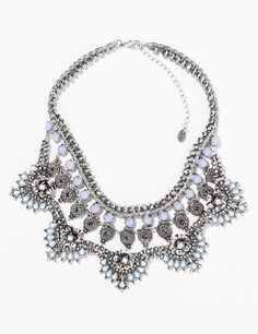 Pin for Later: 10 Pieces of Zara Jewelry That Will Make Your Jaw Drop  Zara silver and moonstone bib necklace ($40)