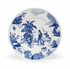 A blue and white dish, Kangxi period (1662-1722)
