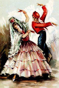 Digital Scan Vintage Flamenco Dancers by EphemeralDownloads, $3.00