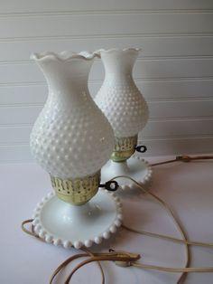 Vintage Milk Glass Hobnail Brass Pair of Lamps  by mymilkglassshop, $42.50
