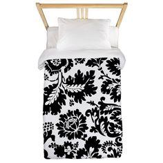 Damask Black and White Bold Floral Twin Duvet on CafePress.com