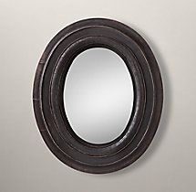 "RH large Salvaged Oval Mirror $180. 29¼""W x 2¾""D x 35¼""H"
