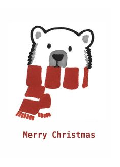 A6 Polar Bear Christmas Card by LaraRhiannon on Etsy