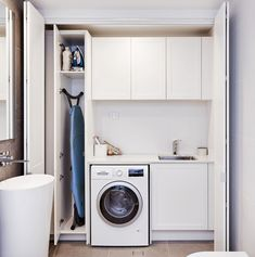 With Freedom Kitchens it's possible to make your laundry look like an extension of your living spaces by selecting matching or complementary materials, and include clever storage to hide away clutter – the options are endless. Laundry Room Layouts, Small Laundry Rooms, Laundry In Bathroom, Small Bathroom, Compact Laundry, Bathroom Faucets, Laundry Cupboard, Laundry Closet, Laundry Room Organization
