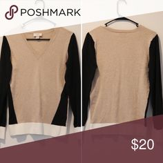 Soft color block sweater by Loft Lightweight sweater from Loft. Neutral tones means it matches almost anything! The color blocking also makes you look thinner 🙂. Only selling as I need heavier sweaters for where I live. LOFT Sweaters V-Necks