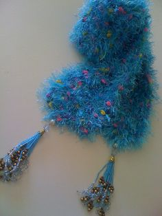 Vibrant Blue Scarf with Beaded Tassels