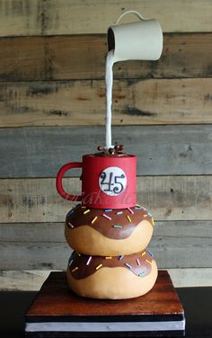 Gravity Defying Coffee Donut Cake - So, so, SO much fun!! A birthday cake for a chocolate doughnut and coffee lover.