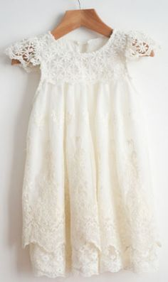Flower-girl-dress-Vintage-Off-White-party-lace-dress-Toddler-dress-1-12-Years