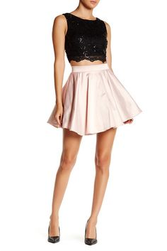 City Triangles Sequin Lace Flared Two-Piece Set (Juniors)