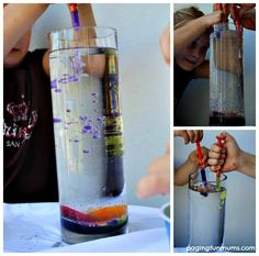 Ice, Water and Oil Experiment - FUN Science for Kids!  Great idea!  (We won't be using baby oil, though). :-)