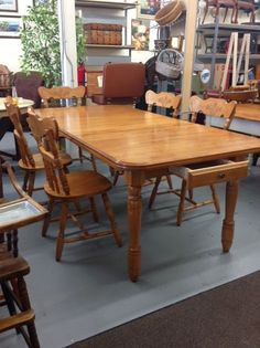 Heres Anther Lovely Dining Room Set Solid Maple Table 6 Chairs