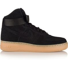 Nike Air Force 1 Hi suede sneakers ($135) ❤ liked on Polyvore featuring shoes, sneakers, black, black hi top sneakers, nike shoes, nike trainers, high top velcro sneakers and black high tops