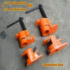 """Woodworking Clamps Household Carpenter Wood Tools Heavy Duty 1/2""""(15mm) and 3/4""""(20mm) Pipe Clamp Fixture Kits"""