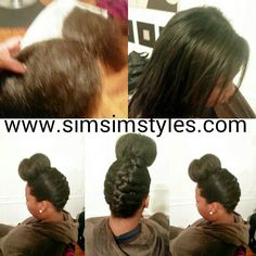 Goddess braid w/bun Natural Hair Updo, Natural Hair Styles, Protective Hairstyles For Natural Hair, Goddess Braids, Updo Hairstyle, Updos, Up Dos, Two Goddess Braids, Natural Updo