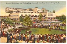 Monmouth Park Racetrack in Oceanport, NJ, circa late 1940s. The original track was opened on July 30, 1870 in Long Branch, NJ. Races were held until 1894 when legislation barred betting. In 1946, the legislature enacted a bill regulating racing and the new Monmouth Park opened June 19, 1946 in Oceanport. Discover more history @ www.thehistorygirl.com