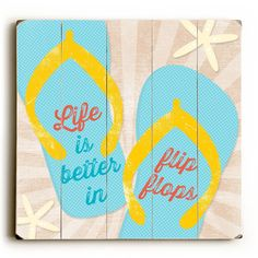 """Flip Flops Wood Sign Life is better in flip flops. In bright colors, this Flip Flops Anchor wood sign will brighten your space. The sign is a hand distressed planked design made of 100% birch wood by Artist Misty Diller. The sign comes ready to put on your wall with a saw tooth hanger. Available in 3 Sizes: 13"""" x 13"""" Planked 18"""" x 18"""" Planked 30"""" x 30"""" Planked Made in the USA *Due to the printing process to achieve the vintage look, actual colors may vary slightly. Images are generated from…"""