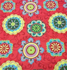 kitchen curtains? red,turquoise,yellow,green floral outdoor fabric