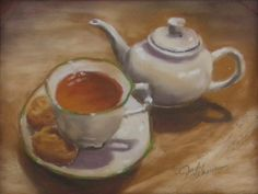 Tea For Me is an original pastel drawing by Judy Leasure. The art measures 8″ x 10″ and the frame is 10 3/4″ x 11 1/2″