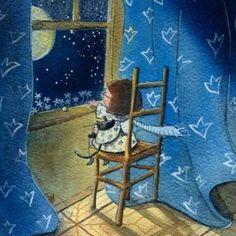 Girl & kitty, chair, moon, snow, night, blue curtains, wind.