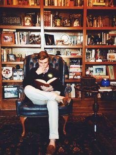 The Study.Tags: barefoot style,  book, boy, cardigan,  education, elegance,  footwear, guy, high school, ivy league, jumper, library, loafers, look men, no socks, pants,   preppy, pullover, shirt, shoe, smart casual, sockless feet, student, sweater, without socks, без носков, босиком, мокасины, на босу ногу, на голую ногу, преппи,  туфли