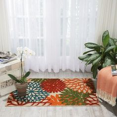 "Nourison Aloha Green Indoor/Outdoor Area Rug Rug Size: 7'10"" x 10'6"""