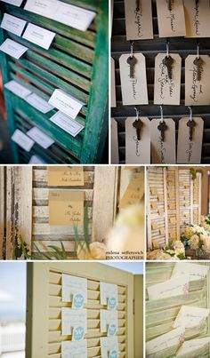Shutter Place Cards. I would prefer RED/Coral colored Shutters.