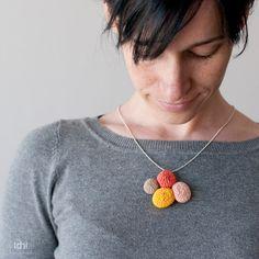 Crochet necklace. Reversible. Yellow orange salmon and door idniama, $30.00