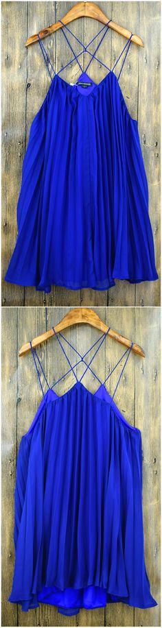 Azbro's Crossed Strap V Neck Pleated Chiffon Dress