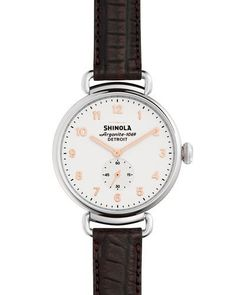 Shinola 38mm Canfield Alligator Strap Watch, Oxblood/Rose Gold