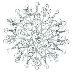 Large Silver & Crystal Snowflake Brooch pinned with Bazaart