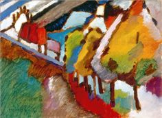 #kandinsky MURNAU – CASTLE AND CHURCH, 1909 Oil on cardboard Munich, Germany. Lenbachhaus Gallery http://www.wassilykandinsky.net/work-559.php