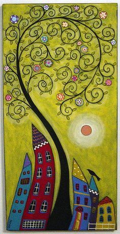 """Today I refuse to stress myself out about things I cannot control or change."" ~ Unknown Art by: Karla Gerard lis Karla Gerard, Naive Art, Art Journal Inspiration, Whimsical Art, Art Plastique, Tree Art, Doodle Art, Art Lessons, Painting & Drawing"