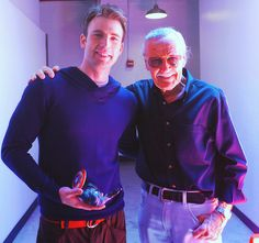 """ What more could you ask for? Chris Evans with Stan Lee and he's playing with himself! """