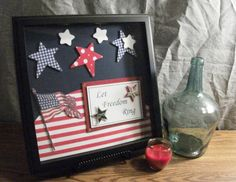Patriotic Decoration Memory Box in a black frame by RedRiverValley, $50.00