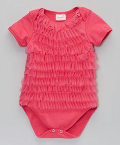 Hot Pink Ruffle Bodysuit - Infant #zulily *so cute